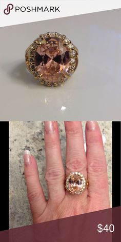 Camrose & Kross Jackie Kennedy Ring Gold-tone plated 925 Sterling silver. Stone is a beautiful, girly pink. Photo does NOT do it justice. From the QVC Jackie O collection. Size 8. Jewelry Rings