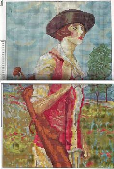 0 point de croix lady golf - cross stitch