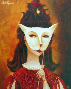 The Mask by Alina Eydel, Mixed Media on Canvas - Subject: Abstract
