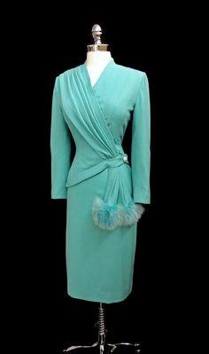 1940's Lilli Ann Aqua Blue Skirt Suit with Asymmetrical Jacket and Fur Puff