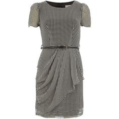 Dogtooth tea dress with belt ($55) ❤ liked on Polyvore