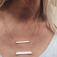 """Ashlee Swenson wearing the Gold Bar Necklaces 