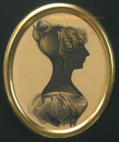 This lovely painted (not cut) lady wears  her hair in a knot at the crown of her head, secured with a small hair comb.  Tight curls frame he...http://www.peggymcclard.com/
