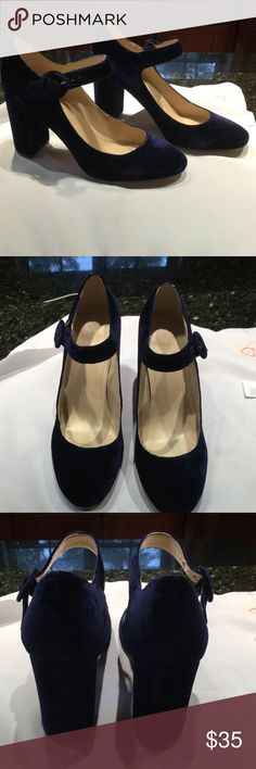 """Blue velvet Marc Fisher shoes Mary Jane style blue velvet chunky heels with 3 3/4"""". Worn once, great look. Marc Fisher Shoes Heels"""