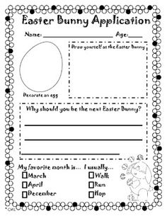 For schools that discuss Easter...kindergarten writing Easter Bunny application