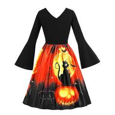 Dunacifa Women Long Sleeve Vintage Pumpkins Halloween Dresses V Neck Evening Prom Costume Swing Dress Plus Size Vintage Dresses, Vintage Midi Dresses, Retro Dress, Pin Up Dresses, Types Of Dresses, Dress Outfits, Casual Dresses, Retro Halloween, Halloween Costumes