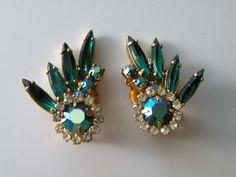 Juliana emerald green green aurora borealis clear rhinestone clip-on earrings #Juliana