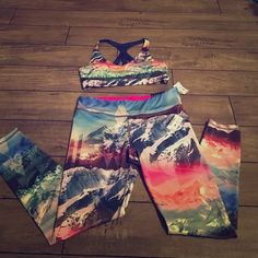 Workout bundle!!!!  Gorgeous workout pants and bra! Multi colored  snowy mountain scene! Brand new with tags!!! Didn't try on before buying so sadly these do not fit me :(. Live Dream Love Other