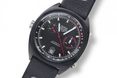 @tagheuer Monza (vintage) - the first and most well-known Monza model featured a strong, all-black, brushed, 39-mm cushion case similar to ones we see today. Modeled conceptually after the second generation (1969-79) Heuer Carrera, the vintage Ref. 150.501 Monza (above) featured an automatic chronograph function powered by Heuer's Caliber 15.  More @ http://www.watchtime.com/featured/vintage-eye-for-the-modern-guy-tag-heuer-monza/  #tagheuer #watchtime #chronograph #vintagewatches