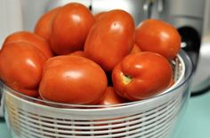 Tomatoes are so easy to can. You don't need a lot of special equiptment to do it. You can sometimes get deals at the end of tomatoe season and pick a bushel for a low cost or of course grow your own.