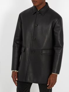 Click here to buy Prada Single-breasted leather coat at MATCHESFASHION.COM