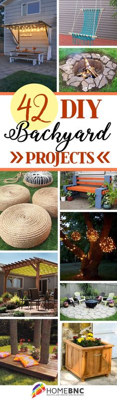 DIY Backyard Ideas-BY HOMEBNC-- It's a time for backyard parties, family picnics, and lots of dreamy hammock lounging. You don't need a zip code in the Hamptons or oceanfront abode in Big Sur to create your own backyard paradise worthy of a magazine spread; all you need is some good old-fashioned DIY motivation and, of course, this handy on-trend guide!