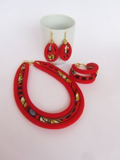 Red jewelry set/ african fabric necklace/ by nad205 on Etsy