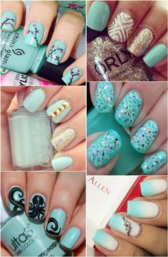 Tiffany blue nail art designs for the Summer.