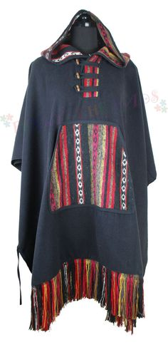 Mexican Style Poncho Ethnic Hippy Festival Baja, 100% Cotton Handmade in Clothes, Shoes & Accessories, Men's Clothing, Jumpers & Cardigans | eBay