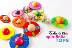 Easy DIY Toy: Spin-finite Tops - http://www.pbs.org/parents/crafts-for-kids/easy-diy-toy-spin-finite-tops/