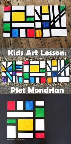 Kids Homeschool Art Lesson: Piet Mondrian This homeschool art lesson teaches you about Dutch modern abstract artist Piet Mondrian and includes a simple kids art activity that's perfect for all ages! Art Lessons For Kids, Art Activities For Kids, Art Lessons Elementary, Preschool Art Lessons, Kids Art Class, Art Project For Kids, Painting Activities, Mondrian Kunst, Piet Mondrian Artwork