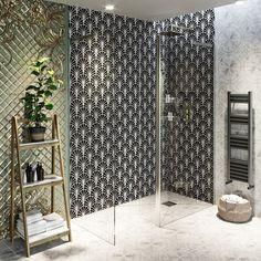 Showerwall Custom Art Deco acrylic shower wall panel 1220 x 2440 Shower Wall Panels, Art Deco Bathroom Tile, Art Deco Bathroom, Bathroom Accessories Luxury, Waterproof Bathroom Wall Panels, Acrylic Wall Panels, Wall Paneling, Bathroom Wall Panels, Victorian House Interiors