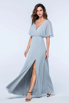Watters bridesmaid dresses - Wedding Dresses Ball Gown, Unique Chiffon Vneck Neckline Butterfly Sleeves Aline Bridesmaid Dresses With Slit – Watters bridesmaid dresses Backless Bridesmaid Dress, Bridesmaid Dresses With Sleeves, Designer Bridesmaid Dresses, Beautiful Bridesmaid Dresses, Bridesmaid Dress Styles, Blue Bridesmaids, Wedding Dresses, Prom Dresses, Chiffon Dresses