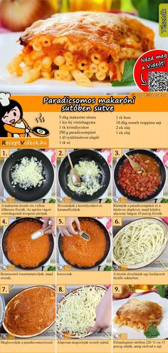 PARADICSOMOS MAKARÓNI RECEPT ELKÉSZÍTÉSE VIDEÓVAL Veggie Recipes, Real Food Recipes, Cookbook Recipes, Vegetarian Recipes, Wine Recipes, Cooking Recipes, Yummy Food, Healthy Recipes, Pasta Recipes
