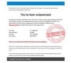 Bogus Federal Court of Australia Subpoena Email Points to Malware