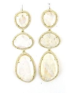 YELLOW GOLDMOONSTONE  DIAMOND EARRINGS
