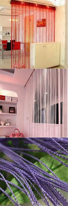 String Curtain Drapery Room Divider Partition - Silver by ASIAN HOME ...