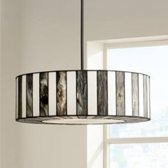 """With a striped shade accented with tiffany style art glass, this contemporary pendant light offers a modern twist on an old classic. 20"""" wide x 7 1/2"""" high x canopy is 5 3/4"""" wide x hang weight 10 lbs. Includes one 6"""" and three 12"""" downrods. Style # V9904 at Lamps Plus."""