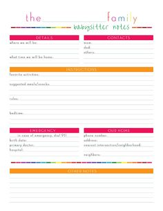 Awesome Babysitter Cheat Sheet-Free Printable