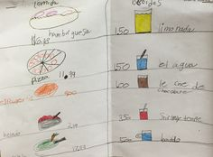 Creating our own restaurant menus in Spanish! So much fun. #menu #spanish #brookeside #montessori