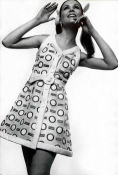 1960s Andre Courreges mini dress.  I think Courreges was one of my fave 60's designers (along with Pucci), although mini was DEFINITELY mini with him...
