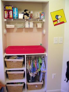 Closet turned baby essentials area. Clever!