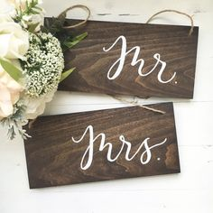 Wood Chair Signs - Mr. & Mrs., sweetheart table, wedding signage, reception sign, rustic wedding