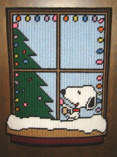 SNOOPY'S CHRISTMAS WINDOW PLASTIC CANVAS PATTERN #Computergenerated