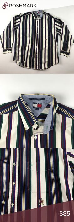 Vintage Large Tommy Hilfiger Color Block Shirt Excellent condition Tommy Hilfiger Shirts Casual Button Down Shirts