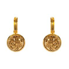 Druzy Leverback Earrings Gold now featured on Fab.