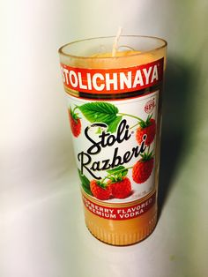 New to BrandYourCandle on Etsy: 100% Soy Wax candles made from up cycled Stoli Razberi bottles various scents (27.00 USD)
