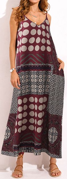 US$ 19.36 Gracila Bohemian Spaghetti Strap Patchwork V-neck Long Maxi Dresses