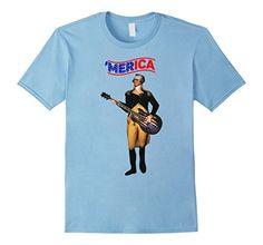 Mens Funny Merica Patriotic George Washington Guitar T-Shirt America Veterans Patriotic
