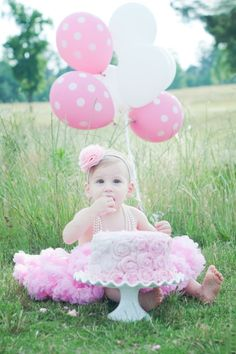 Smash cake in grass with tutu... LOVE it!