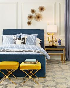 Best Modern Blue Bedroom for Your Home - bedroom design inspiration - bedroom design styles - bedroom furniture ideas - A modern motif for your bedroom can be simply achieved with strong blue wallpaper in an abstract design and patterned bedlinen Bedroom Furniture, Modern Furniture, Bedroom Decor, Bedroom Ideas, Furniture Makers, Cozy Bedroom, Modern Beds, Bedding Decor, Bedroom Retreat
