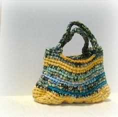 Rag bag crochet hand bag in lovely yellow by MammaEarthCreations, $33.00
