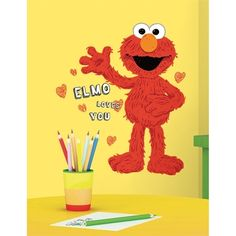 Shop for Roommates Sesame Street Elmo Loves You Peel & Stick Giant Wall Decals. Get free delivery On EVERYTHING* Overstock - Your Online Nursery Decor Shop! Big Wall Stickers, Disney Wall Decals, Bedroom Stickers, Name Wall Decals, Removable Wall Stickers, Kids Wall Decals, Kids Stickers, Mickey Mouse Classic Cartoons, Do It Yourself Design