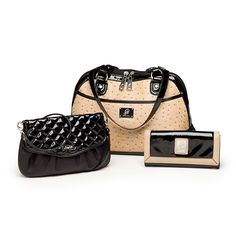 Emma Purse in Sand Ostrich. Jane Clutch in Black. Envelope Contrast Wallet in Black.  Grace Adele debuts August 1, 2012 https://BagAddict.GraceAdele.us Join this ground floor opportunity on my fast growing team for just $199 (US) / $239 (CA) Jeannie Isaacs Independent Grace Adele Star Director
