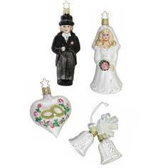 """Wedding Day 121409 Gift Boxed Set of 4 Ornaments from Inge-Glas of Germany Set includes a bride, groom, bells and a heart. Ornaments range in size from 2"""" to 5 3/4"""". Gift card included!"""