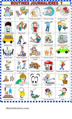 Everyday life action verbs 1 - English ESL Worksheets for distance learning and physical classrooms French Verbs, English Verbs, English Vocabulary, English Activities, Daily Activities, French Lessons, English Lessons, Teaching French, Teaching English