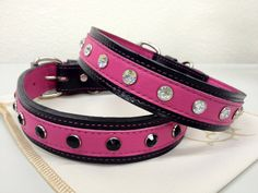 "Large Leather Dog Collar In Hot Pink with Crystals Custom Made 1 1/4"" Wide on Etsy, $73.00"