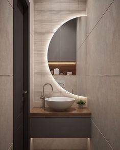 40 Outrageous Ideas For Your home Decor & Cozy Bathroom Washroom Design, Bathroom Design Luxury, Modern Bathroom Design, Modern Luxury Bathroom, Small Toilet Room, Small Bathroom, Round Bathroom Mirror, Modern Bathroom Mirrors, Cozy Bathroom