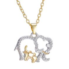 LIMITED TIME OFFER & FREE SHIPPING A mum and baby elephant necklace that you can carry everywhere you go, while at the same time you display your support and love for this unique animal. - This is per