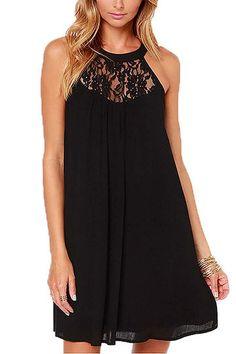 Black Sleeveless Lace Details Mini Dress